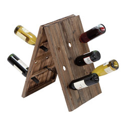 Casa Cortes - Casa Cortes Elements Aged Collapsible 18 Bottle Holder Wine Rack - Never again will you need to pull out a dozen bottles to find the one you seek with this innovative 18-bottle wine rack. The bottles are held at the neck,so the labels are on display,and it's collapsible,so you can easily fold it away.