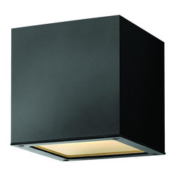 Hinkley - Hinkley Kube One Light Satin Black Outdoor Wall Light - 1766SK-LED - This One Light Outdoor Wall Light is part of the Kube Collection and has a Satin Black Finish. It is Outdoor Capable, and Wet Rated.