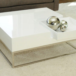 Pangea Home - Kristen Coffee Table - Sleek and modern square coffee table with removable tray and hidden storage unit on the side. Features: -Wood veneer and high gloss lacquer top.-High polished metal frame legs.-Style: Modern.-Base Finish: High polished metal.-Distressed: No.-Powder Coated Finish: No.-Gloss Finish (Finish: Espresso): No.-Gloss Finish (Finish: White): Yes.-Wrought Iron: No.-Top Material: Manufactured Wood.-Base Material: High polished metal.-Base Type: Legs.-Solid Wood Construction: No.-Reclaimed Wood: No.-Design: Table.-Drop Leaf: No.-Shape: Square.-Lift Top: No.-Tray Top: No.-Storage Under Tabletop: No.-Folding: No.-Magazine Rack: No.-Built In Clock: No.-Powered: No.-Nested Stools Included: No.-Legs Included: Yes.-Casters: No.-Exterior Shelves: No.-Cabinets Included: No.-Drawers Included: No.-Corner Block: No.-Cable Management: No.-Adjustable Height: No.-Glass Component: No.-Upholstered: No.-Outdoor Use: No.-Swatch Available: No.-Commercial Use: Yes.-Recycled Content: No.-Eco-Friendly: No.-Product Care: Wipe with damp cloth.Dimensions: -Overall Height - Top to Bottom: 14.-Overall Width - Side to Side: 35.-Overall Depth - Front to Back: 35.-Width When Fully Extended: No.-Table Top Width - Side to Side: 35.-Table Top Depth - Front to Back: 35.-Legs: Yes.-Overall Product Weight: 72.Assembly: -Assembly Required: No.-Additional Parts Required: No.