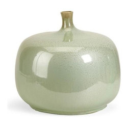 IMAX Worldwide Home - Massey Short Vase - Material: 100% Ceramic. 11.75 in. H x 13.5 in. D. Weight: 8.8 lbs.The Massey Vase is sure to be a statement in anyone's home. The variegated greens and rotund shape demand attention! Earthy and warm, this bowl make a perfect gift or decorative accent. For a coordinated look purchase matching bowl and vase.