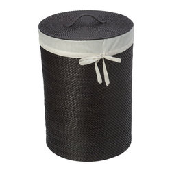 KOUBOO - Round Rattan Hamper with Liner, Espresso - This round rattan hamper will keep laundry out of sight in a naturally beautiful container. Hand woven from rattan in Hapao style, this dark-brown  hamper features a removable, machine-washable, cotton liner to protect your clothes and built-in handles for easy movement and carry.