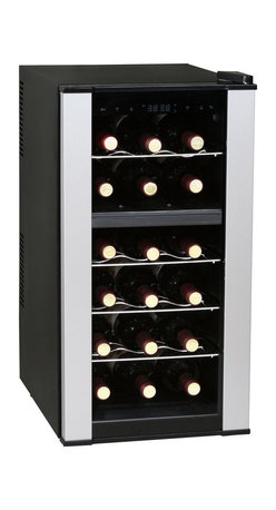 Vinotemp - 18-Bottle Dual-Zone Thermoelectric Wine Cooler - The 18-Bottle Dual-Zone Thermoelectric Wine Cooler is an excellent wine storage solution for any small space! This compact unit comfortably stores 18 of your favorite bottles and is able to accommodate both your reds and whites as it is equipped with two separate temperature compartments. This outstanding wine cooler is the perfect addition to any space with its interior light display, sleek stainless steel trim, and dual-Pane glass door. Plus, this unit runs on thermoelectric technology creating wine storage that is quiet and energy efficient! This unit can store up to 18 of your best 750ml wine bottles.