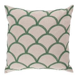 "Surya - Surya 22 x 22 Decorative Pillow, Holly Green and Peach Cream (COM008-2222P) - Surya COM008-2222P 22"" x 22"" Decorative Pillow, Holly Green and Peach Cream"
