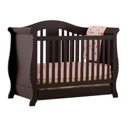 Storkcraft - Vittoria Fixed Side Convertible Crib - The Vittoria 3 in 1 Fixed Side Convertible Crib by Stork Craft offers a classic sleigh design that adds a rich sophistication to the nursery. The extra large bottom drawer allows for ample storage of your child's most precious belongings. This crib is not only gorgeous, but it is versatile, converting from a standard crib to a daybed and ultimately to a full-size bed complete with headboard and footboard. Set-up this extravagant Vittoria Fixed Side Convertible Crib effortlessly with it's easy to follow directions and extra sturdy stationary side rails. Complete your nursery look by adding complimentary accessories by Stork Craft. Features: -Designed with safety in mind as it meets current U.S. and Canada safety standards.-All four sides are stationary to add to the security and stability.-Convert from a full size crib to a daybed to a full-size bed (rails not included).-Extra large bottom drawer creates added storage space.-Adjustable three position mattress support.-JPMA certified.-Stylish solid wood and wood product construction.-Non toxic, durable finishes.-Vittoria collection.-Collection: Vittoria.-Distressed: No.Dimensions: -47.13'' H x 29.45'' W x 60.79'' D, 99.5 lbs.-Overall Product Weight: 99.5 lbs.Warranty: -1 Year limited manufacturer's warranty.