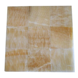 Honey Polished Square Pattern Mesh-Mounted Onyx Tiles - 4 in. x 4 in. Honey Mesh-Mounted Square Pattern Onyx Mosaic Tile is a great way to enhance your decor with a traditional aesthetic touch. This polished mosaic tile is constructed from durable, impervious onyx material, comes in a smooth, unglazed finish and is suitable for installation on floors, walls and countertops in commercial and residential spaces such as bathrooms and kitchens.