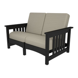 Polywood - Mission Settee in Black - This cozy seat for two will add style and charm to your outdoor sitting area. This settee is built to be durable, good-looking and low maintenance for many years to come. Lumber provides the look of painted wood without the maintenance. Polywood lumber requires no painting, staining, waterproofing, or similar maintenance. Polywood lumber does not splinter, crack, chip, peel or rot and it is resistant to corrosive substances, insects, fungi, salt spray and other environmental stresses.