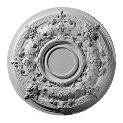 """Ekena Millwork - 29 1/4""""OD Darnay Ceiling Medallion (Fits Canopies up to 7 1/4"""") - 29 1/4""""OD Darnay Ceiling Medallion (Fits Canopies up to 7 1/4""""). Our ceiling medallion collections are modeled after original historical patterns and designs. Our artisans then hand carve an original piece. Being hand carved each piece is richly detailed with deep relief, sharp lines, and a truly unique touch. That master piece is then used to create a mould master. Once the mould master is created we use our high density urethane foam to form each medallion. The finished look is a beautifully detailed, light weight, solid construction, focal piece. The resemblance to original plaster medallions is achieved only by using our high density urethane and not vacuum formed, """"plastic"""" type medallions. - Medallions can be cut using standard woodworking tools to add a hole for electrical or a ceiling fan canopy. - Medallions are light weight for easy installation. - They are fully primed and ready for your paint. If you have any questions feel free to ask. These are in stock and available for immediate shipment."""