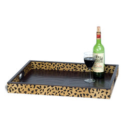 Robert Bryan - Tray, Leopard Printed with Brown Embossed Leather - Leopard printed hair on hide and brown embossed leather.