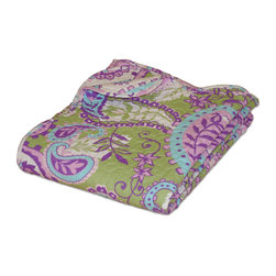 None - Portia Paisley Quilted Throw - The energetic pattern and radiant color palette of this Portia Paisley quilted throw adds a fun and lush look to your decor. This throw reverses to an all-over paisley print in coordinating colors on a soft white ground.