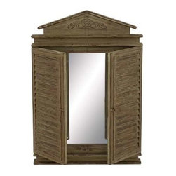 "Benzara - Cunninghamia Wood Wall Mirror with Shutter - Cunninghamia Wood Wall Mirror with Shutter. Mirror measures 22"" x 2"" x 33"" Some assembly may be required."