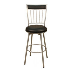 "American Heritage - American Heritage Alliance 24"" Counter Height Stool in Silver - The tubular frame finished in silver makes the Alliance one of our most popular stools. You'll be amazed with the comfort and style the black vinyl seat offers. A perfect choice to compliment your space. What's included: Counter Height Stool (1)."