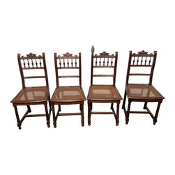 Cane Seat Chairs Circa 1900 - Set of 4 - Four dining chairs with cane seats from the early 1900's. Cane is in perfect condition, with general wear on chair frames. These chairs have a rustic, Montecito vibe that will pair well with fellow antique style furnishings!