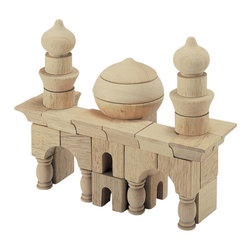 Guidecraft - Guidecraft Hardwood Table Top Arabian Block Set - Guidecraft - Wooden Play Sets - G6101 - Rebuild great structures from ancient history or challenge your kids to create new Architectural works of art. Alone or in conjunction with the Table Top Building Blocks Set build structures in an Arabian style. This 42 piece hardwood set With 14 different shapes. Limited only by the imagination you can create your own landmarks using unique shapes or build designs that are included. Clean-up and storage is a breeze with the clear plastic bucket and lid with handles.