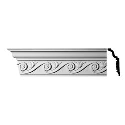 Renovators Supply - Cornice White Urethane Lilith - Cornice - Ornate | 11391 - Cornices: Made of virtually indestructible high-density urethane our cornice is cast from steel molds guaranteeing the highest quality on the market. High-precision steel molds provide a higher quality pattern consistency, design clarity and overall strength and durability. Lightweight they are easily installed with no special skills. Unlike plaster or wood urethane is resistant to cracking, warping or peeling.  Factory-primed our cornice is ready for finishing.  Measures 6 inch H x 96 inch L.
