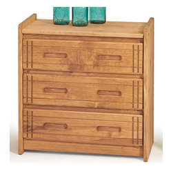 Chelsea Home - 3-Drawer Wooden Chest - Rustic style. Hand finished stain with three step process to compliment natural wood grain. Constructed for strength and durability. Warranty: One year. Made from solid pine wood. Honey finish. Made in USA. No assembly required. 29 in. W x 17 in. D x 31 in. H (80.3 lbs.)