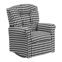 """Flash Furniture - Kids Hounds Tooth Fabric Rocker Recliner - Kids will now be able to enjoy the comfort that adults experience with a comfortable recliner that was made just for them! This chair features a strong wood frame with soft foam and then enveloped in durable fabric upholstery for your active child. Choose from an array of colors that will best suit your child's personality or bedroom. This petite sized recliner features a rocker frame for kids to enjoy and feel like a big kid. The rocking feature becomes disabled once the chair is reclined for safety. Child's Recliner; Hounds Tooth Fabric Upholstery; Easy to Clean Upholstery; Plush Button Tufted Back; Spring Seat; Fire Retardant Foam; UFAC Tested and Approved; Solid Hardwood Frame; Hardwood Rocker Frame; Intended use for Children Ages 2-9; 90 lb. Weight Limit; Safety Feature: Will not rock while reclined due to welded T-Bar; Overall dimensions: 22.5""""W x 24"""" - 37""""D x 28""""H"""