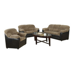 "Acme - 2-Piece Cornell Collection Two Tone Brown Corduroy and Espresso Vinyl Sofa Set - 2-Piece Cornell collection two tone brown corduroy and espresso vinyl upholstered sofa and love seat set. This set includes the sofa and love seat with padded backs and overstuffed arms. Sofa measures 86"" x 36"" x 38"" H. Love seat measures 65"" x 36"" x 38"" H. Chair also available separately at additional cost. Some assembly may be required."