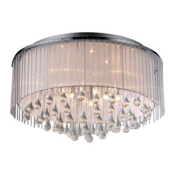 Warehouse of Tiffany - Demeter Chrome 8-light Chandelier - Add some elegance to your home with this Demeter Chrome Chandelier. This dynamic lighting element features generous rows of cascading crystals to catch the light. Setting: IndoorMaterials: Metal, glass, and fabricFixture finish: ChromeSwitch: Hardwired, requires professional installationNumber of lights: 8Requires eight (8) 20 watt bulbs (not included)Dimensions: 22 inches long x 24 inches wide x 10 inches highThis fixture does need to be hard wired. Professional installation is recommended.Attention California Residents: This product contains Lead, a chemical known to the State of California to cause cancer and other reproductive harm.CSA Listed, ETL Listed, UL Listed