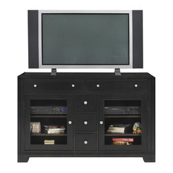 Winners Only - Metro 54 in. Media Cabinet in Espresso Finish - Five drawers. Two glass insert doors with wooden shelf inside. Adjustable shelves. Simple round silver knobs. 54 in. W x 19 in. D x 36 in. H (225 lbs.)