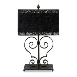 Scroll Table Lamp with Pierced Shade - *Sophisticated cast iron arabesque table lamp with scroll design and metal shade