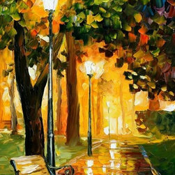 Leonid Afremov - Park Lights - Palette Knife Oil Painting On Canvas By Leonid Afremov - Oil painting on canvas