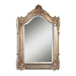 "Uttermost - Alvita Metal Mirror, Antiqued Gold Leaf, Dark Gray Glaze - Hand forged and hand hammered metal finished in aged wood tone with a heavy gray glaze and antiqued side mirrors. Center mirror has a generous 1 1/4"" bevel."