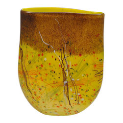 Viz Glass, Inc. - Autumn Storm Vase - A warm color scheme and eye-catching design combine in the Autumn Storm Vase. Featuring yellow blown glass with spatter accents in brown, red and green, this handblown vase evokes images of fallen leaves swirling in crisp autumn air. Set it atop a mantel or entryway table for a bold look.