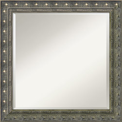 Amanti Art - Barcelona Square Wall Mirror - This mirror features a champagne colored frame with outer-edge beading and a raised inner-edge trim enclose an ornate floral design.