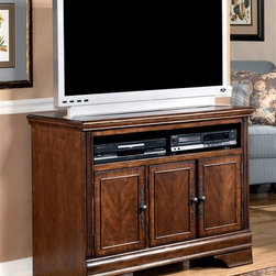 Signature Design by Ashley - TV Stand in Medium Brown (42 inch) - Choose Size: 42 inchClassic design elements and elegant veneer detailing gives this TV stand a luxurious look that will easily enhance any decor. The console features three cabinet doors with ornate antique brass tone hardware and a traditional bracket base, along with an open shelf for electronic components. Color/Finish: Medium Brown. Made with select hardwoods and cherry veneer with Prima Vera inlay veneer. Profiled wrap around mouldings. Antique bronze colored metal hardware. Adjustable shelf behind glass doors. 42 inch: 42 in. W x 20 in. L x 32 in. H. 50 inch: 50 in. W x 20 in. L x 30 in. H. 60 inch: 60 in. W x 20 in. L x 30 in. H