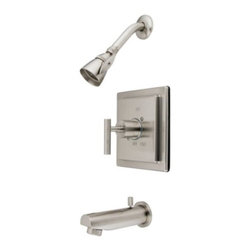Kingston Brass - Kingston Brass Satin Nickel Manhattan Single Handle Shower Faucet KB8658CML - The tub and shower faucet is made of solid brass construction for functionality and long-lasting use.  Its premium color finish resists tarnishing and corrosion with a 2.5 GPM at 80 PSI on its shower head. Best known for its sleek avant-garde look--the EOD style exhibits sophistication and contemporary elegance, a design made to make your bathroom vibrant and extravagant.. Manufacturer: Kingston Brass. Model: KB8658CML. UPC: 663370068560. Product Name: Single Handle Shower Faucet. Collection / Series: Manhattan. Finish: Satin Nickel. Theme: Contemporary / Modern. Material: Brass. Type: Faucet. Features: Beautiful premier finish