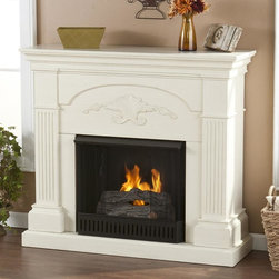 Holly & Martin - Sicilian Harvest Gel Fireplace - Includes metal firebox, cement log, faux coal cinder and screen kit. Fuel not included. Ventless. Fluted columns on each side. Decorative scroll. Beautiful media room accent. Supplements heat to save on energy consumption. FireGlo gel fuel snaps and crackles like real wood. Emits no smoke, odor and ash. Holds upto 3 cans of gel fuel simultaneously for full bodied 6 - 8 in. flame. Each can of FireGlo produces upto 3000 BTU's. Metal firebox withstands more than 9000 BTUs to safely handle gel fuel. Mantel supports upto 85 lbs.. Accommodates upto 42 in. flat screen TV. Made from poplar wood and MDF with veneer. Assembly required. 44.75 in. W x 14 in. D x 40.25 in. H (95 lbs.)None of the mess of a wood burning fireplace. The elegance of this fireplace is ideal for enhancing your home's cozy appeal. All of your guests are sure to marvel at such a wonderful centerpiece. Portability and ease of assembly are just two of the reasons why our fireplace mantels are perfect for your home. Requiring no electrician or contractor for installation allows instant remodeling without the usual mess or expense. In addition to your living room or bedroom, try moving this fireplace to your dining room for romantic dinners or complement your media room with a ventless fireplace below your flat screen television. Use this great functional fireplace to make your home a more welcoming environment.