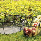 Achla - Harvest Basket Pair - This lovely and practical Harvest Basket Pair is crafted of steel and powdercoated in black for lasting durability.  Use them to carry delicious garden vegetables, fresh baked breads or for displaying fresh cut flowers.  Large handles make carrying a snap! * Small Harvest Basket. Large Harvest Basket