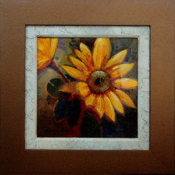 Sunflower (Original) by Kanayo Ede - Acrylic painting of an abstract sunflower on canvas and glossed to a glass like luster with epoxy. Canvas only dimension is 16in x 16in framed with a 6in wood frame and a hand textured liner bringing the overall dimension to 27in x 27in.