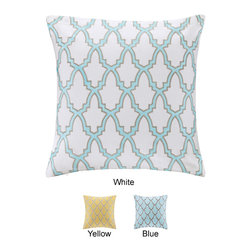 ID-Intelligent Designs - Intelligent Design Cotton Canvas Embroidered Decorative Pillow - This charming decorative pillow adds a sophisticated yet modern look to your current decor with its classic ironwork pattern and updated color palette. The high-quality cotton canvas background features rich embroidery details.