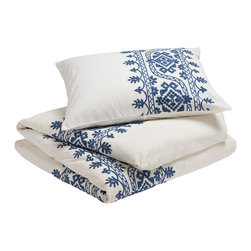 Coyuchi - Aari Embroidered Duvet Cover, White W/ Royal Blue, Standard, Shams - Lavish hand-guided embroidery frames the bed in texture and color. The intricate pattern of leafy, blooming vines is set against pure white cotton for a look that's festive and fresh.