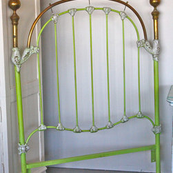 Whimsical Brass Twin Headboard in Bright Lime by Casual Chic Corner - Oh my! This vintage bed frame has a modern twist. This would be a fun DIY project, but I'm kind of in love with this one. This would be a beautiful statement piece; I'd use a bright white duvet and sheets, along with a few colorful accent pillows.