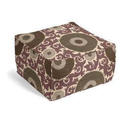 Purple & Gray Giant Suzani Custom Pouf - The Square Pouf is the hottest thing in decor since the sectional sofa. This bean bag meets Moroccan style ottoman does triple duty as a comfy extra seat, fashion-forward footstool, or part-time occasional table.  We love it in this oversized suzani of sunbursts & flames swirling in plum, gray & taupe on heavy basketweave cotton.  a statement for spaces modern, boho, & eclectic alike.