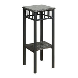 Monarch Specialties - Monarch Specialties 29 Inch Square Plant Stand in Grey, Charcoal - With its classy grey marble-look top, this plant stand gives a warm feel to any room. Its original charcoal colored metal base provides sturdy support as well as an elegant look. Use this multi-functional table to place your favorite plant, or decorative piece. It will be a sure eye catcher! What's included: Plant Stand (1).
