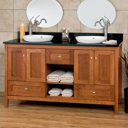 "60"" Alcott Vanity for Semi-Recessed Sink - Give your master bath a luxury makeover with the 60"" Alcott Vanity for Semi-Recessed Sink. Designed in the Shaker style, this vanity features multiple doors, drawers and cubbies for all of your bathroom storage needs."