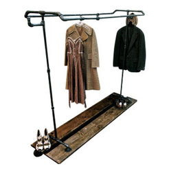 ROLL OUT INDUSTRIAL PIPE GARMENT RACK