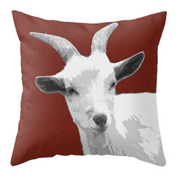 BACK to BASICS - Goat - Red Pillow Cover, 16x16 - This goat was enjoying the day in the Litchfield Hills of Connecticut.