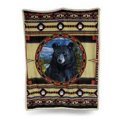 Zeckos - Reversible Bear Ridge Microfiber/Sherpa Throw Blanket 50 In. x 60 In. - Avoiding a chill while cozying up on the couch or in front of a fire can't get any better than with this super soft reversible throw blanket Made of 100% polyester, it features a crisp image of a black bear surrounded by paw prints and a southwest pattern printed on ultra soft microfiber on one side with soft fluffy white sherpa on the reverse, and being double layered means extra warmth for you The generous 50 inch wide by 60 inch long size makes it perfect to cozy up with just about anywhere, it looks great tossed on the bed, couch or chair and is a wonderful complement to outdoorsy decor. This super soft plush throw blanket makes an excellent gift for any nature or wildlife fancier
