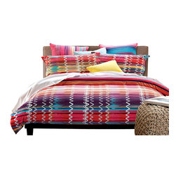 Dolce Mela - Modern Abstract Design Duvet Cover Set, Dolce Mela DM481, Queen - Native American inspired abstract design features and array of rich colors in a beautiful symmetric artwork  that will mystify any bedroom's decor.