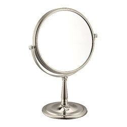 Nameek's - 3x Stainless Steel Double Face Makeup Mirror, Satin Nickel - With an Italian design and a contemporary style, this makeup mirror is suitable for most modern bathroom settings.