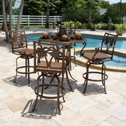 Hospitality Rattan Coco Palm Slatted Pub Set with 4 Swivel Barstools with Arms - - The Hospitality Rattan Coco Palm Slatted Pub Set with 4 Swivel Barstools with Arms - Dark Bronze is a traditional and fun addition to any outdoor space. Constructed of grounded extruded aluminum frames, the set won't rust through the years. These sets include the special outdoor aluminum slatted tables with umbrella holes that do not need glass. The five-piece pub set is very versatile and comes with four swivel Coco Palm barstools. About Hospitality Rattan Hospitality Rattan has been a leading manufacturer and distributor of contract quality rattan, wicker, and bamboo furnishings since 2000. The company's product lines have become dominant in the Casual Rattan, Wicker, and Outdoor Markets because of their quality construction, variety, and attractive design. Designed for buyers who appreciate upscale furniture with a tropical feel, Hospitality Rattan offers a range of indoor and outdoor collections featuring all-aluminum frames woven with Viro or Rehau synthetic wicker fiber that will not fade or crack when subjected to the elements. Hospitality Rattan furniture is manufactured to hospitality specifications and quality standards, which exceed the standards for residential use. Hospitality Rattan's Environmental Commitment Hospitality Rattan is continually looking for ways to limit their impact on the environment and is always trying to use the most environmentally friendly manufacturing techniques and materials possible. The company manufactures the highest quality furniture following sound and responsible environmental policies, with minimal impact on natural resources. Hospitality Rattan is also committed to achieving environmental best practices throughout its activity whenever this is practical and takes responsibility for the development and implementation of environmental best practices throughout all operations. Hospitality Rattan maintains a policy of continuous environmental