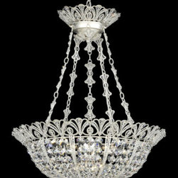 Schonbek - Tiara New Antique Silver Nine-Light Clear Spectra Crystal Pendant Light, 24.5W x - -Spectra Crystal: Spectra Crystal is cut Swarovski crystal with reliable quality. Spectra Crystal has been a registered trademark since 1999 and offers the most important cuts in clear crystal.  - An original Schonbek design, Tiara was inspired by the bejeweled coronets once worn by women of fashion for formal occasions. Extensive hand work is involved in bezel-setting crystal jewelry beads into the lacy framework.  -Clear Spectra Crystal  - Wire Length (in inches): 136  - Light Source: Incandescent Bulb  - Bulbs not included  - Chain Length (in inches): 40  - Uses standard line volt dimmer  - Some assembly required  - Lead free crystal  - For shipping outside of USA, please contact Bellacor customer service  - Cleaning and Care Instructions: Every Schonbek product is of heirloom quality and will last for generations. To ensure it retains its brilliance and splendor for years to come, proper care and regular cleaning are necessary. It is recommended that Schonbek products, and particularly their crystal trim, be lightly dusted with a feather or lambswool duster, or soft brush every two months, or whenever it appears dull or dusty. Consult the fixtures trim diagram for detailed cleaning instructions list of approved cleaning solutions. Schonbeck fixtures should never be subjected to any chemical cleaning agents. - See packaging insert for warranty information. Schonbek  - 9849-48