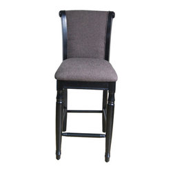 "Kinfine - Chenille Barstool - Features: -Finish: Black. -Upholstery material: Chenille fabric. -Frame construction: Solid wood. -Perfect addition to your bar, den or kitchen area. Dimensions: -Seat height: 29"". -44"" H x 18"" W x 23.5"" D, 21.78 lbs."