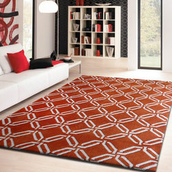 ~5' ft. x 7' ft. Contemporary Rust Orange Hand-tufted Living Room Area Rug - This Rug Measures Approximate Size(Width X Length):~5 X 7' ft. (152 cm x 214 cm) / No Assembly Required