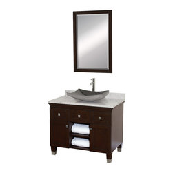 "Wyndham Collection - Wyndham Collection 36"" Premiere Espresso Vanity Set w/ White Carrera Marble Top - A bridge between traditional and modern design, and part of the Wyndham Collection Designer Series by Christopher Grubb, the Premiere Single Vanity is at home in almost every bathroom decor, blending the simple lines of modern design like vessel sinks and brushed chrome hardware with transitional elements like shaker doors, resulting in a timeless piece of bathroom furniture."