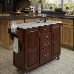 "Home Styles - Create-A-Cart Kitchen Cart with Marble Top - Home Styles Create-a-cart with a .75"" finished top features solid wood construction, and four cabinet doors that open to storage. Features: -Four-utility drawers.-Two cabinet doors open to storage with adjustable shelves inside.-Handy spice rack with towel bar, paper towel holder.-Heavy duty locking rubber casters for easy mobility and safety.-Create-A-Cart collection.-Product Type: Kitchen Cart.-Collection: Create-a-Cart.-Counter Finish: Marble.-Hardware Finish: Brushed Steel.-Distressed: No.-Powder Coated Finish: No.-Gloss Finish: No.-Base Material: Wood.-Counter Material: Marble.-Hardware Material: Brushed steel.-Solid Wood Construction: Yes.-Number of Items Included: 1.-Water Resistant or Waterproof Cushions: No.-Stain Resistant: No.-Warp Resistant: No.-Exterior Shelves: No.-Drawers Included: Yes -Number of Drawers: 4.-Push Through Drawer: No..-Cabinets Included: Yes -Number of Cabinets : 2.-Double Sided Cabinet: No.-Adjustable Interior Shelves: Yes.-Number of Doors: 2.-Locking Doors: No.-Door Handle Design: Linear pulls..-Towel Rack: Yes -Removable Towel Rack: No..-Pot Rack: No.-Spice Rack: Yes .-Cutting Board: No.-Drop Leaf: No.-Drain Groove: No.-Trash Bin Compartment: No.-Stools Included: No.-Casters: Yes -Locking Casters: Yes.-Removable Casters: No..-Wine Rack: No.-Stemware Rack: No.-Cart Handles: No.-Finished Back: Yes.-Commercial Use: No.-Recycled Content: No.-Eco-Friendly: No.-Product Care: Clean with a damp cloth.Specifications: -ISTA 3A Certified: Yes.Dimensions: -Overall Height - Top to Bottom: 35.5"".-Overall Width - Side to Side: 48"".-Overall Depth - Front to Back: 17.75"".-Width Without Side Attachments: 44.5"".-Height Without Casters: 31.75"".-Countertop Thickness: 0.75"".-Countertop Width - Side to Side: 44.5"".-Countertop Depth - Front to Back: 17.75"".-Shelving: -Shelf Width - Side to Side: 12.5"".-Shelf Depth - Front to Back: 12.75""..-Leaf: No.-Drawer: -Drawer Interior Height - Top to Bottom (Small Drawers) : 3"".-Drawer Interior Height - Top to Bottom (Large Drawer) : 8.5"".-Drawer Interior Width - Side to Side: 10.25"".-Drawer Interior Depth - Front to Back: 11.5""..-Cabinet: -Cabinet Interior Height - Top to Bottom: 28.5"".-Cabinet Interior Width - Side to Side: 12.5"".-Cabinet Interior Depth - Front to Back: 12.75""..-Overall Product Weight: 134 lbs.Assembly: -Assembly Required: Yes.-Tools Needed: Phillips screwdriver.-Additional Parts Required: No.Warranty: -Product Warranty: Vendor replaces parts for 30 days."